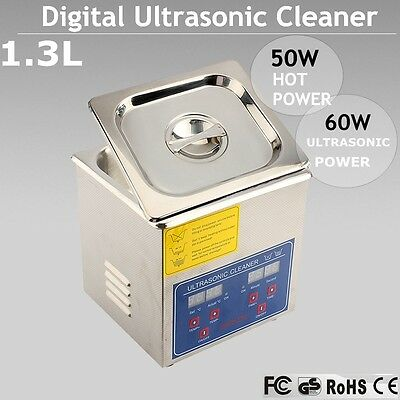 Hot 1.3L Digital Ultrasonic Cleaner Bath Tank Timer Heated Unit Cleaning Machine