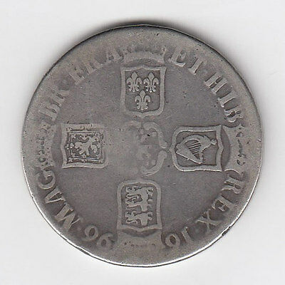 1696 King William III Silver Crown - Nice Condition! (J)