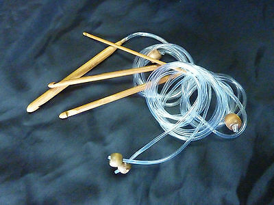 BAMBOO HOOK 1 Metre Flexible Cable AFGHAN TUNISIAN CROCHET KNITTING HOOK 3 -10mm