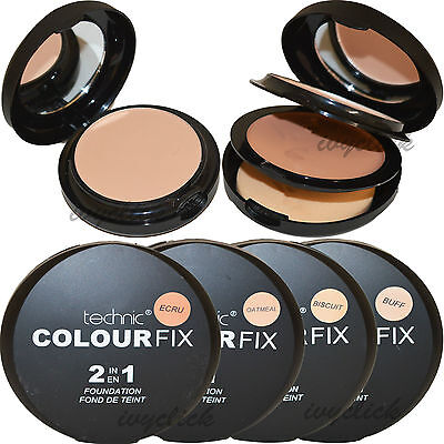 Technic Colour Fix 2 In 1 Pressed Powder & Cream Foundation Compact Makeup Buff