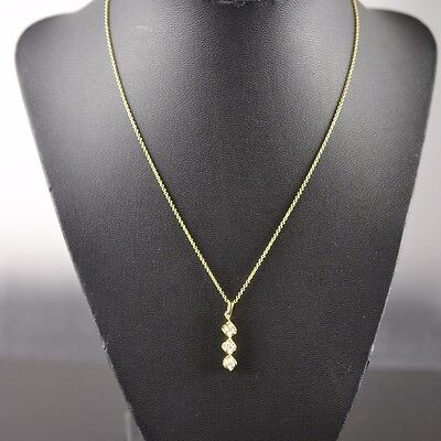 14K Yellow Gold 3 Diamonds Pendant with Cable Chain Necklace 16 inches