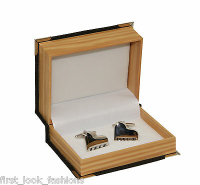 Men's Piano Stainless Steel Cuff Links and Gift Box Cufflinks