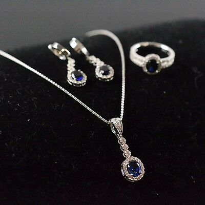 14K White Gold Clear Stone and Synthetic Sapphire Jewellery Set Size :4.25