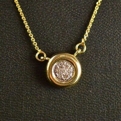 """14K Yellow Gold Round Brilliant Cut Diamond Pendant with Cable Chain 18"""" 0.15 tw"""