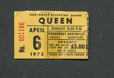 1975 Queen Styx Kansas concert ticket stub Seattle A Night At The Opera Tour
