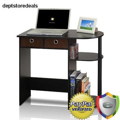 Compact Computer Desk Small Student Table Laptop Notebook Printer Shelf  Drawer