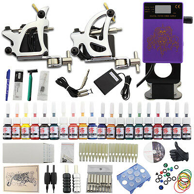 Kit Tatuaggio 2 Tattoo Macchinette Tatuaggi Gun 20 Ink Needles Power Supply DJ27