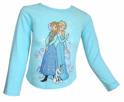 Disney Frozen Girls Long Sleeved Turquoise Top Anna Elsa 100% Cotton 2-10Y