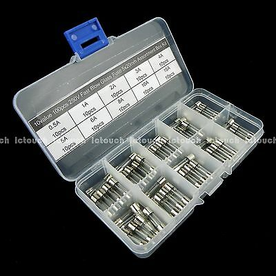 10value 100pcs 250V Fast Blow Glass Fuse 5x20mm Assortment Box Kit UK