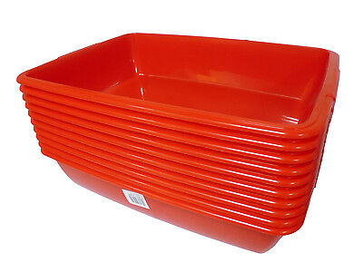 10 x Red Plastic Medium Cat Pet Litter Tray Box - Cattery / Office Pack