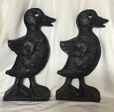 Awesome Art & Crafts Mission Era Figural Cast Iron Duck Andirons