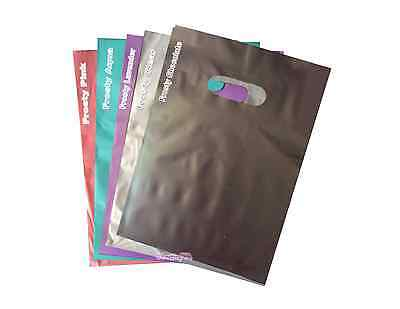 50 -12x15 ~ALL COLOR COMBO Frosty Plastic Merchandise Bags w/Handles, Retail Use