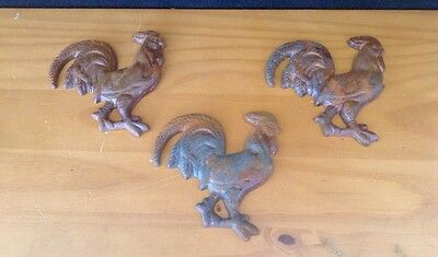 Cast Iron Antq. Style Rooster Set Of 3 Rare Restoration Decor SAVE ! Ltp123-DC1