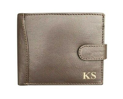Mens Personalised Engraved Luxury Black Soft Leather Coin Purse Card Wallet Gift