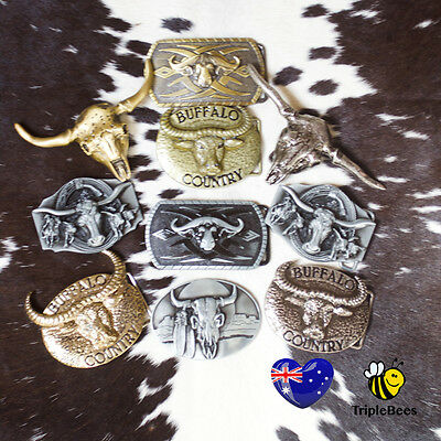 Buffalo,cowgirl,horserider,cowboy,steerhead belt buckles. FREE POST. AUS SELLER