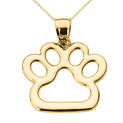 New Fine 14k Yellow Gold Dog Paw Print Pendant Necklace Pet Animal foot