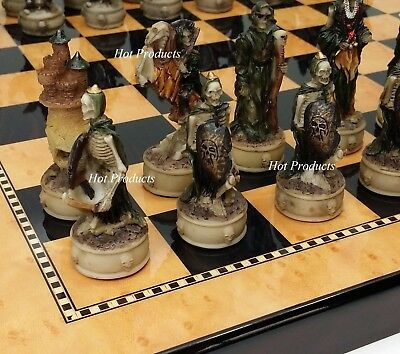SKELETON SLAYER GOTHIC SKULL CHESS SET W/ Gloss Walnut & Maple Finish Board 15""