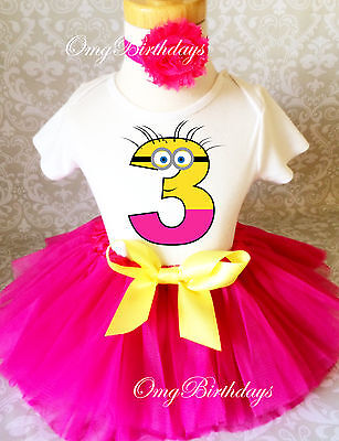 Pink Yellow Minion Girl 3rd Birthday Tutu Outfit Set Shirt Party