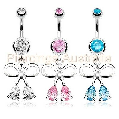 CZ Bow Ribbon Belly Button Bar Navel Ring Dangle Barbell Body Piercing Jewellery