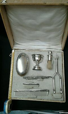 Shaving set vintage in silver solid