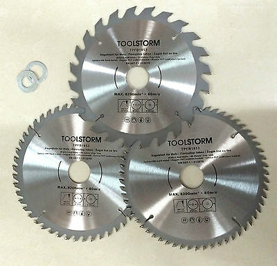 *3PC Circular Saw Blades 185mm 24T,48T,60Teeth 30MM BORE With 2 Reduction