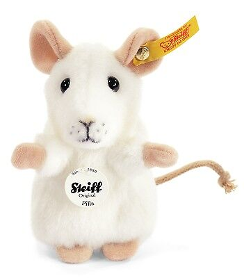 Steiff Pilla Mouse Cuddly Soft White Woven Fur 10cm Animal 056215 New