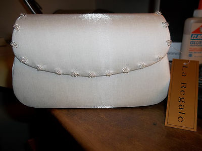 NWT Beautiful Classy Ivory Beaded Brushed Satin Clutch LA REGALE Shoulder Strap