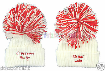 United City Liverpool Knitted Baby Football Hat Big Wooly Bobble Made in England