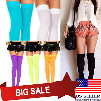 Opaque Thigh High Stockings Pastel & Neon Colors Rave Halloween Witch Costume US