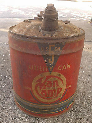 VINTAGE 50's VAN CAMP HARDWARE and IRON Co 5 Gal. METAL UTILITY CAN