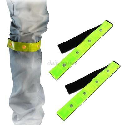 Safety Reflective Yellow Armband Red LED Lights Running Cycling Jogging Walking