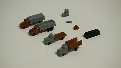 Outland Models Railway Autos Miniature 4 Dump Trucks Set w Cargos Z Scale 1:220
