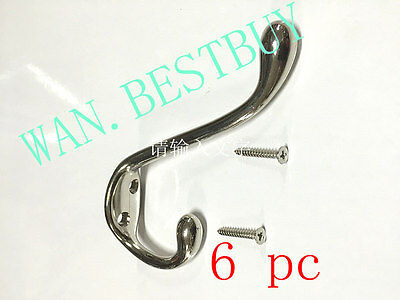 6 pc New SOLID Sliver Coat Clothes Towel Robe Bath Hooks  Wall Door Hanger