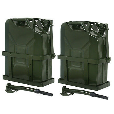 2x Jerry Gas Can Fuel Tank w/ Holder Steel 5Gallon 20L Nato Style Military Green