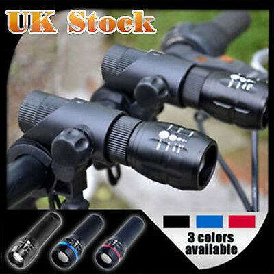 2x CREE Q5 LED Mountain Bike Bicycle Cycle Front Lights + 5 LED Rear Light Lamp