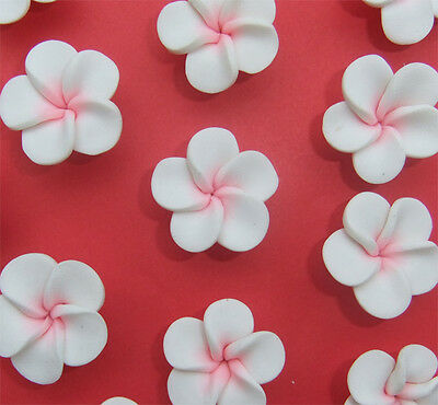 8 x White and Pink Flower Shaped Polymer Clay Beads 22-23mm x 10mm