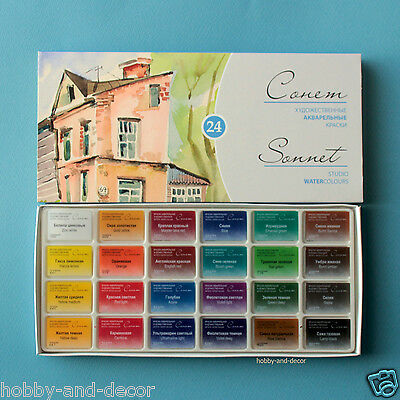 SONNET 24 COLORS ARTISTS WATERCOLOURS PAINT SET Russian Nevskaya palitra