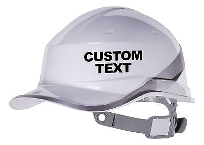 2X CUSTOM TEXT Hard Hat vinyl decal. Warehouse sticker CHOOSE COLOUR AND FONT