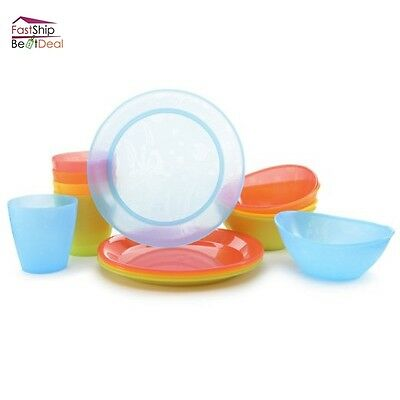 Munchkin Feeding Set 15 Piece Cup Plate Bowl Plastic Dinnerware Kids Dishes BPA