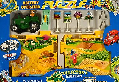 New Farm Tractor Battery Operated 16 Piece Puzzle Set Collectors Edition