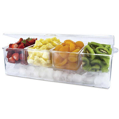Frigidaire Chilled Acrylic Condiment Server 4 Removable Compartment & Hinged Lid