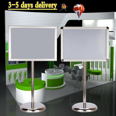 Floor Stand Hold Poster Aluminum Snap/Frame Menu Holder Clip Board Display A3/A4
