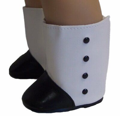 """Doll Clothes 18"""" Colonial Boots White Black Fits American Girl Dolls"""
