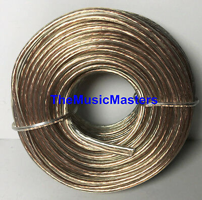 Car Audio Home Stereo SPEAKER WIRE 18 Gauge 50' ft Clear HD Quality Cable VWLTW
