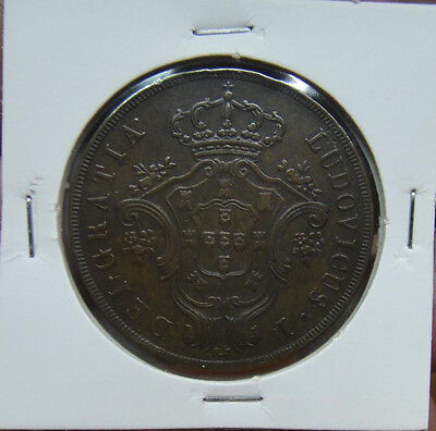 384# Portugal Azores - 20 Reis 1866 King Luis I Km#15  Nice Coin