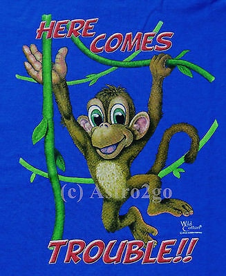 1d6771865ad135 HERE COMES TROUBLE!!--Monkey Chimp Ape Animals Kids T shirt size Youth