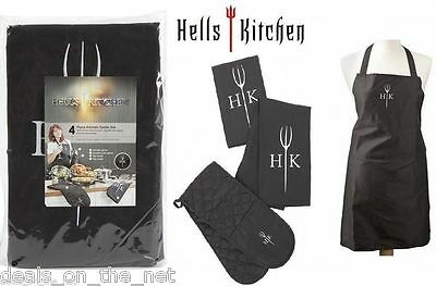 Hell's Kitchen Hells Textile BBQ Apron Oven Glove Tea Towel Cook Set