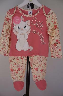 Size 6-12 Months Genuine Disney Marie Soft Pink Pyjamas Set Long Sleeve