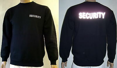 SECURITY Sweatshirt, schwarz oder marineblau, Text in silberreflex, XS bis 4XL