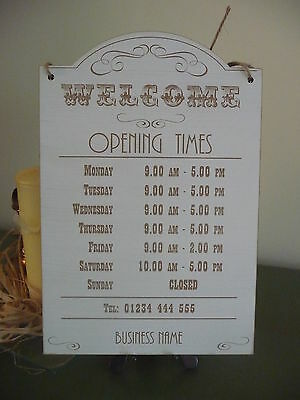 Vintage Opening Times Sign Shop Window Hanging Wooden Open Closed Distressed